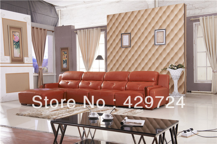 Free Shipping  2015 latest home designs Moden Top Grain leather Corner Sofa Set with Chaise Longue Best Leather Bed AA011