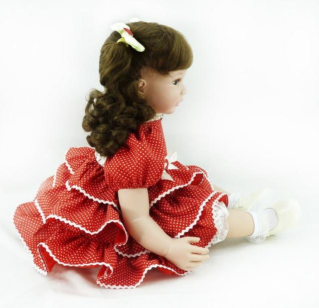60cm Silicone Vinyl Reborn Baby Dolls Lifelike Accompany Sleeping Girl Brinquedos Doll High end Curls Princess