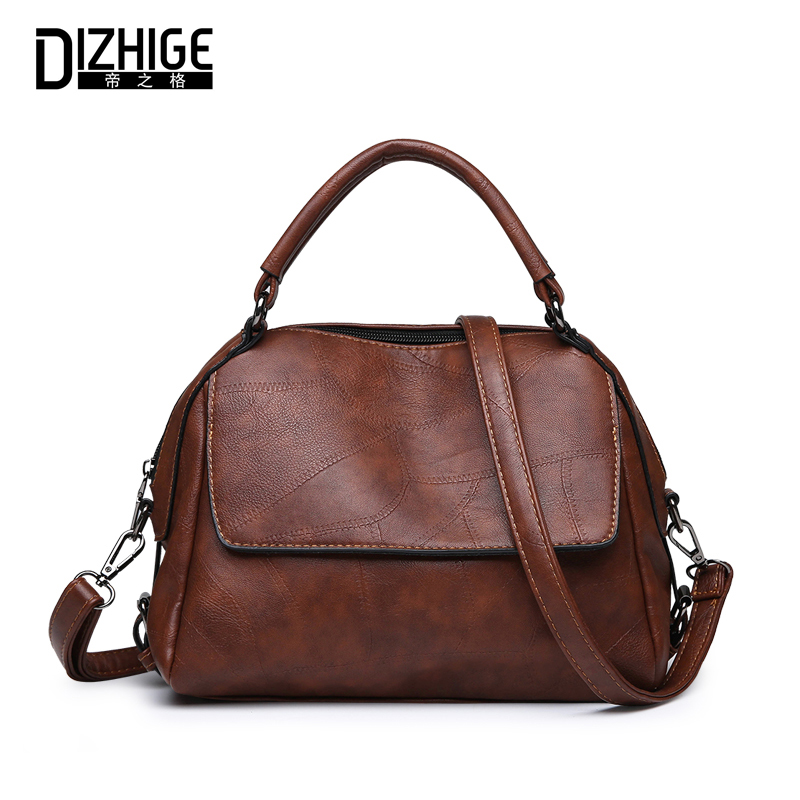 DIZHIGE Brand Luxury PU Leather Women Handbag High Quality Crossbody Bag For Women Thread Messenger Bags Rivet Shoulder Bag Tote