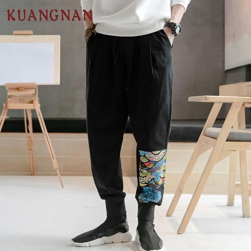 KUANGNAN Pants Men Jogger Japanese Streetwear Cotton Linen Chinese-Style