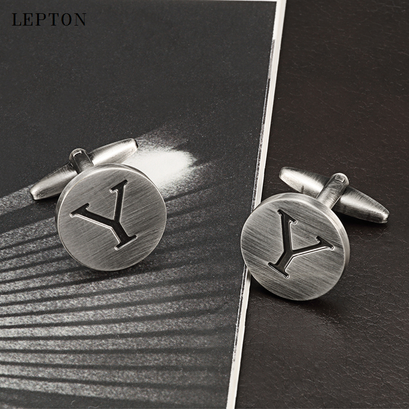 Lepton Letters Y of an alphabet Cufflinks For Mens Antique Silver Plating Round Letters Y cuff links Men shirt cuffs Cufflinks