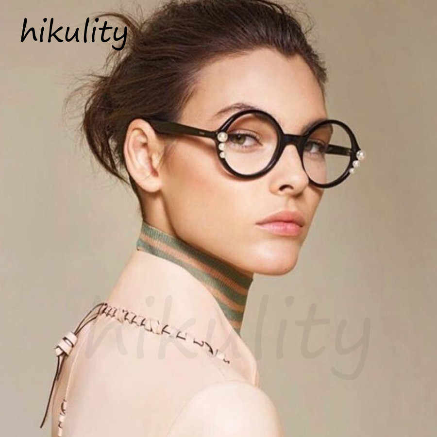 02044c52be with Pearl Beads Round Eyewear Frame New 2018 Luxury Vintage Ladies  Transparent Eyeglasses Retro Clear Glasses