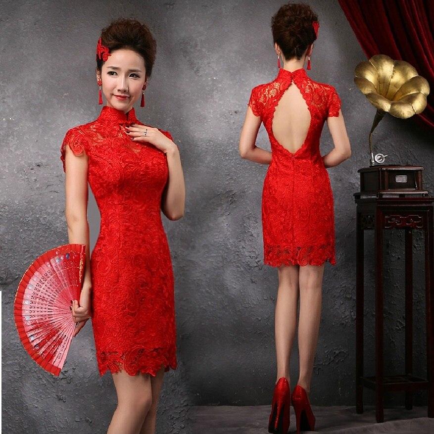 renda tanpa bunga reka bentuk bunga lama pakaian qipao moden seksi - Pakaian kebangsaan - Foto 3