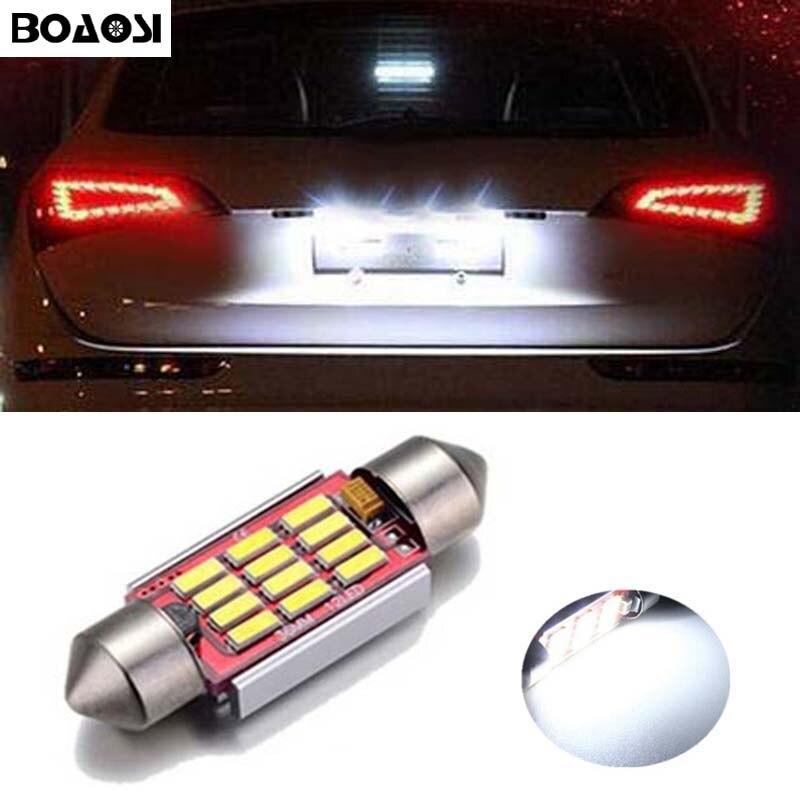 BOAOSI 1x автомобиль водить безошибочной 36мм c5w 4014 SMD лампы 12 В номерного знака для Volkswagen VW Гольф 3 4 5 6 Пассат 3с В6 В5 Поло