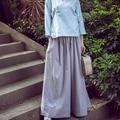 Mulheres calças de Pernas Largas Calças de Linho de Algodão Cor Sólida Grande Tamanho Mulheres Harem Pants Mulheres Calças de Cintura Elástica