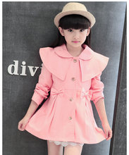 2016 new fashion baby girls clothes long sleeve girls outwear cardigan kids coat 2 color girls