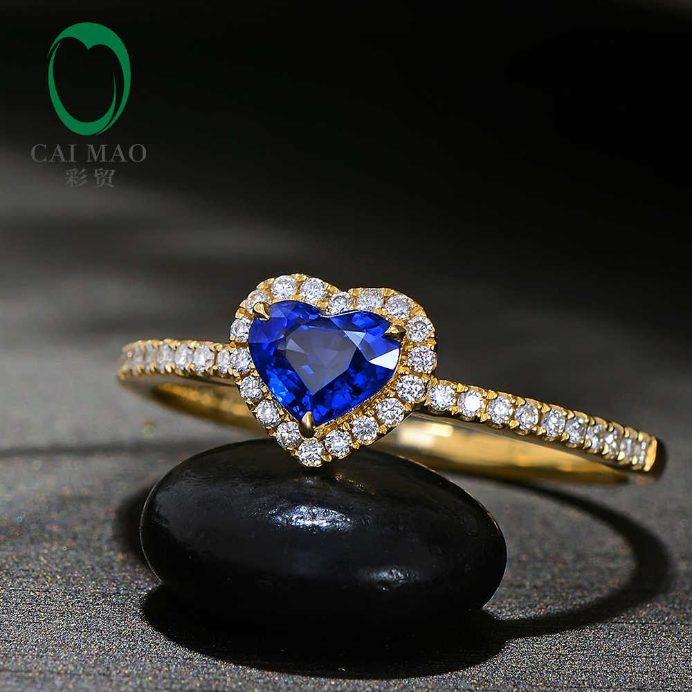 6bbf6d39f Caimao Heart Shape 0.60ct Natural Blue Sapphire 14k Yellow Gold Halo Diamond  Engagement Ring for