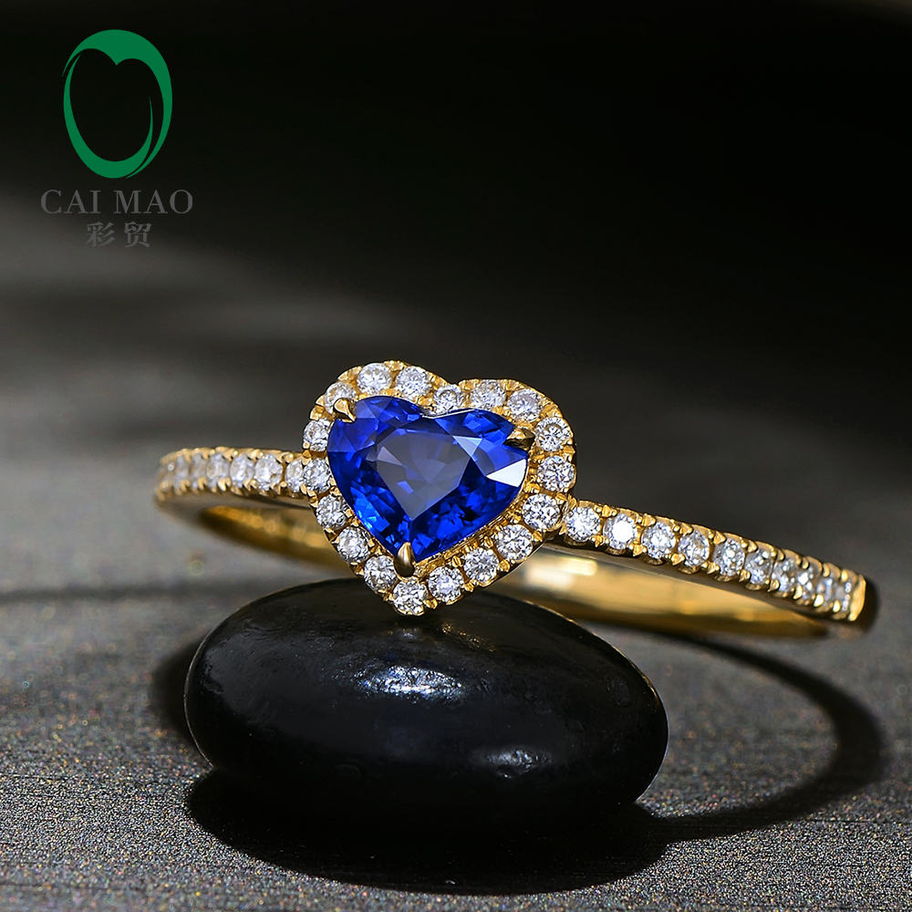 Caimao Heart Shape 0.60ct Natural Blue Sapphire 14k Yellow Gold Halo Diamond Engagement Ring for Women charming faux pearl embellished heart shape ring for women