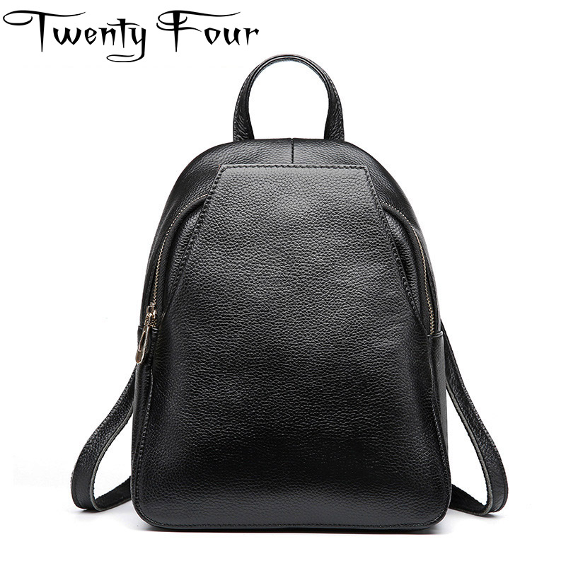 Twenty-four Korean style Fashion Genuine Leather Backpack Women Bags Preppy Style Backpack Girls Mochila Zipper Large Capacity nawo fashion genuine leather backpack rivet women bags preppy style backpack girls school bags zipper large women s backpack sac