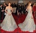 2015 Jennfier Lopez tapete vermelho Vestidos de celebridades A linha de mangas pesado Beads Backless Prom Vestidos Vestidos d