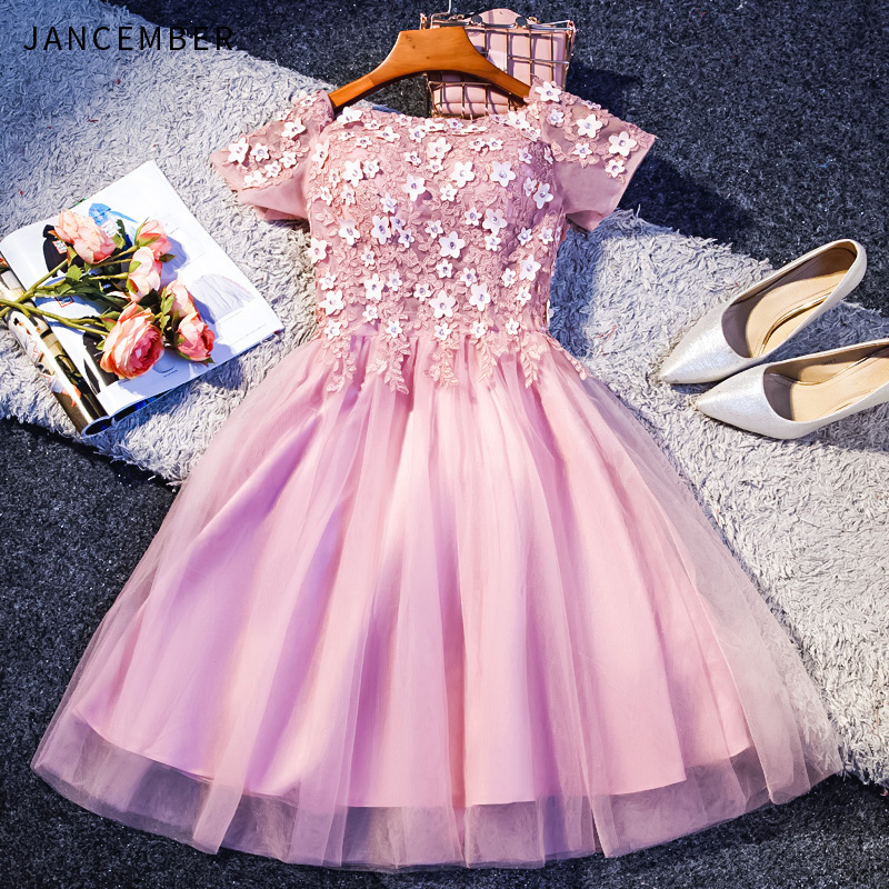 JANCEMBER 2019 New Light Luxury   Cocktail     Dresses   O Neck Short Sleeve Lace Up Back 3D Flower Applique Crystal abito da   cocktail