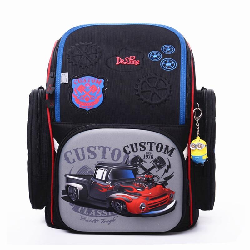 Boys Cartoon 3D Racing Cars School Bags Delune Brand Kids Satchel Waterproof Orthopedic School Backpacks Mochila