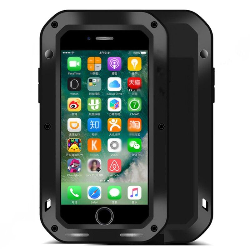 imágenes para Pesado De Aluminio de Metal Cubierta de Gorilla Glass Para el iphone 7 Plus 6 6 S 6 Más 5 5S SÍ Caso Resistente Al Agua A Prueba de Golpes Accesorios Móviles