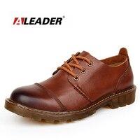 Aleader Мужские кожаные туфли Повседневная новая обувь из натуральной кожи 2016 г. Для мужчин Оксфорд модные модельные туфли на шнуровке Открытый Рабочая обувь Sapatos