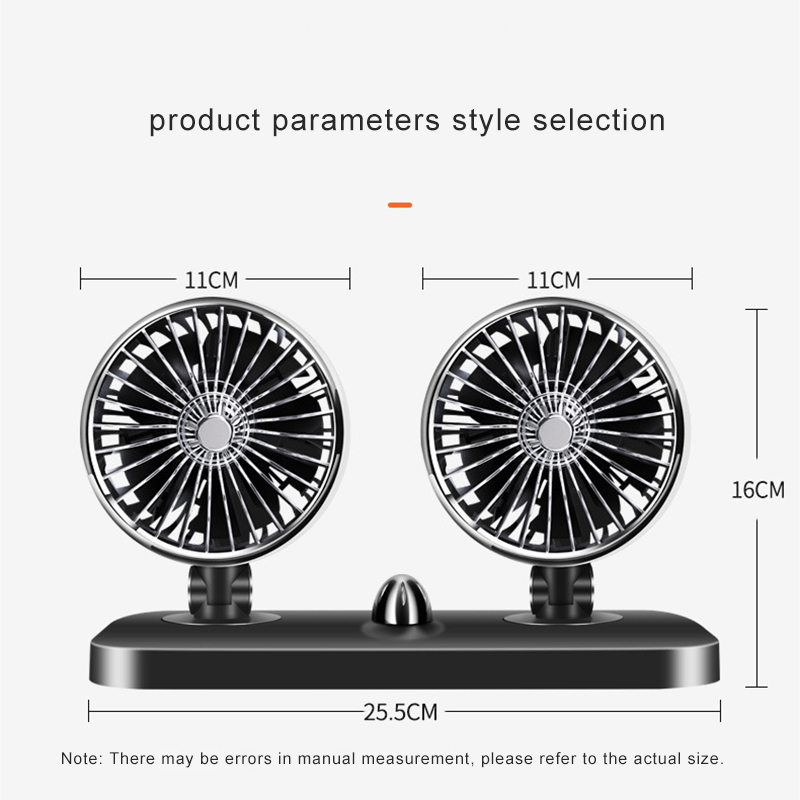 12V 24V Car fan Double headed Direction Adjustment Ventilator Mini USB Fan For Car Strong Big Wind Portable Table Small Fan in Fans from Home Appliances