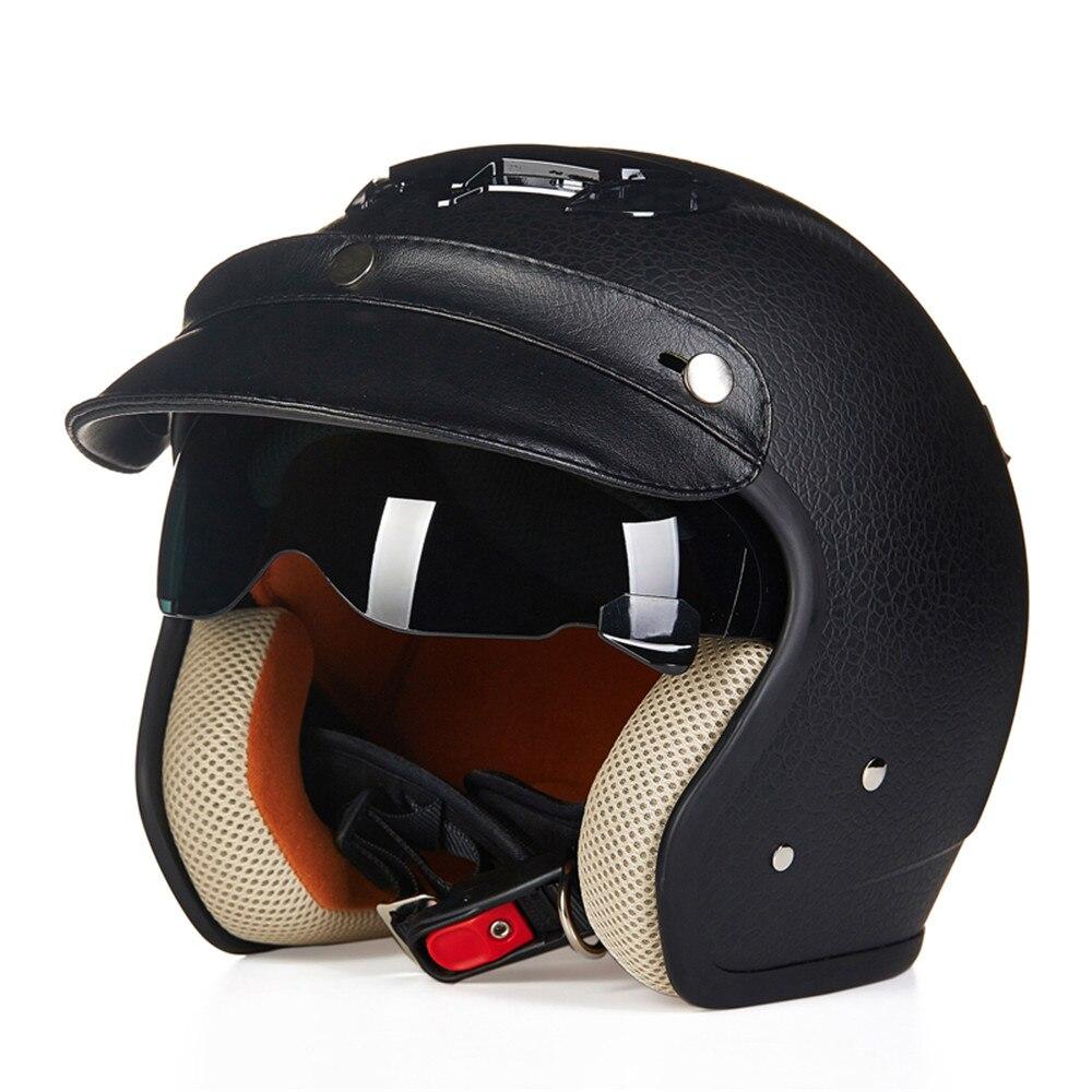 Кожаный мотоцикл чоппер шлем 3/4 открытым лицом старинные шлем 3815 Мото шлем КАСКО шлемы мотоциклиста лошади пилота