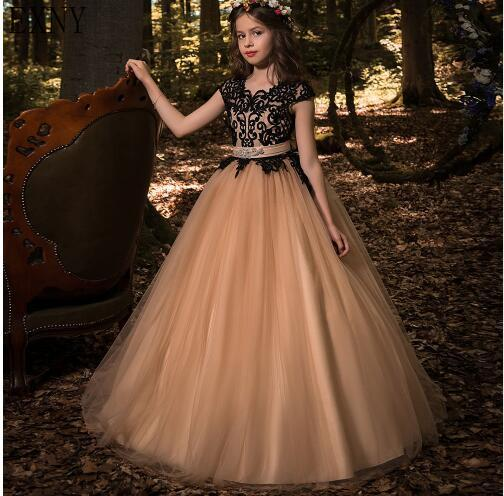 EXNY 2019 New   Flower     Girl     Dresses   Princess Birthdays Party Wedding Gowns Hot Tulle Cap Sleeve   Dress   with Black Lace Appliques