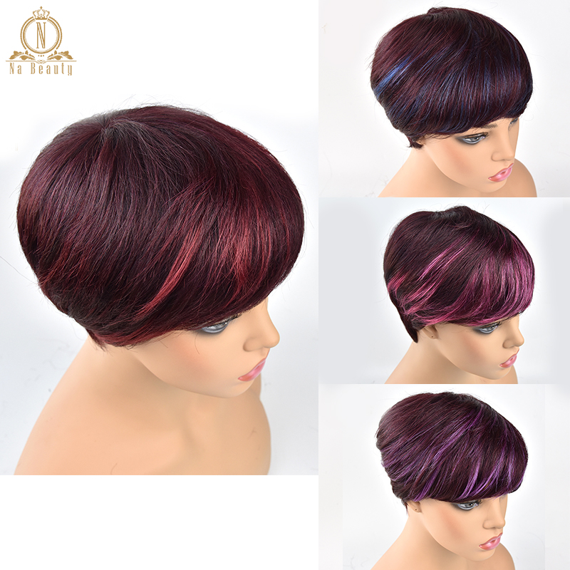 Human Hair Short Wigs Pixie Cut Ombre Wigs For Women Brazilian Remy Human Hair Straight Short None Lace Wigs 4 Colors NABEAUTY