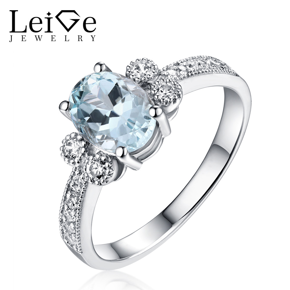 Leige Jewelry Fine Rings for Women Natural Aquamarine Ring Blue Gemstone Oval Cut 925 Sterling Silver Anniversary Gift Leige Jewelry Fine Rings for Women Natural Aquamarine Ring Blue Gemstone Oval Cut 925 Sterling Silver Anniversary Gift