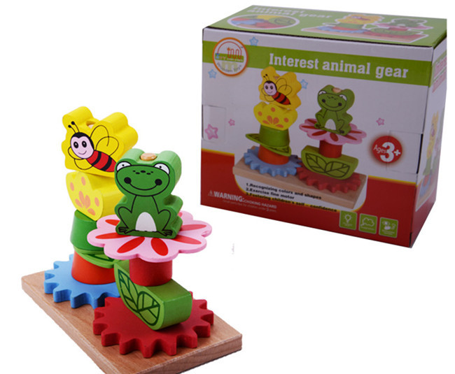 New wooden toy Interest animal gear Baby toy Educational Toys Free shipping