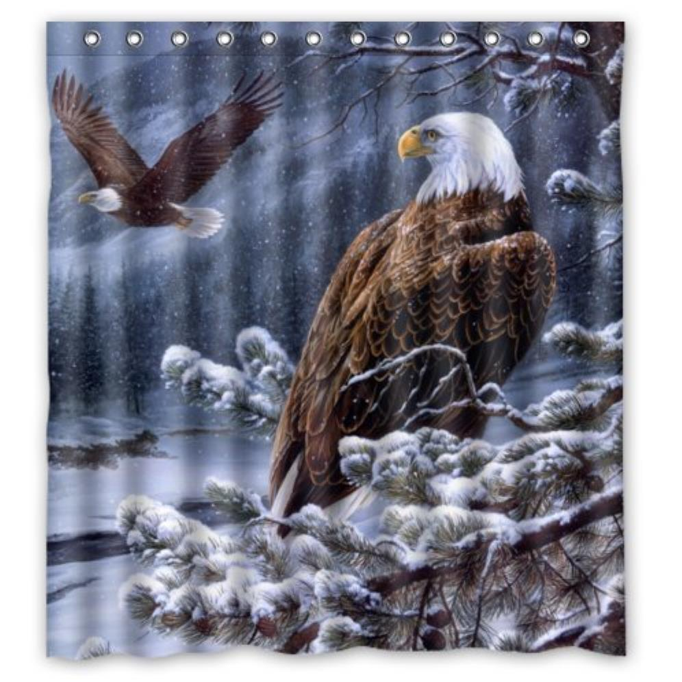 American Bald Eagle and Snow Custom Shower Curtain Pattern Waterproof Fabric Shower Curtain For Bathroom 66*72inch
