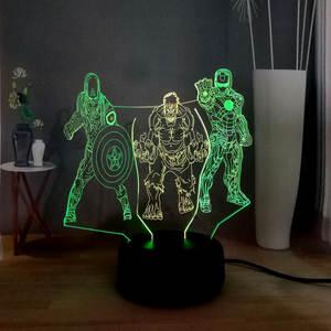 Night-Light Illusion-Lamp Marvel-Figures Gift Bedroom Superhero Comic Man Hulk 3D LED