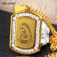 Tino Carlo Quality Bling Bling The Madonna Dog Tag 316L Iced Out CZ VIRGIN MARY Mini