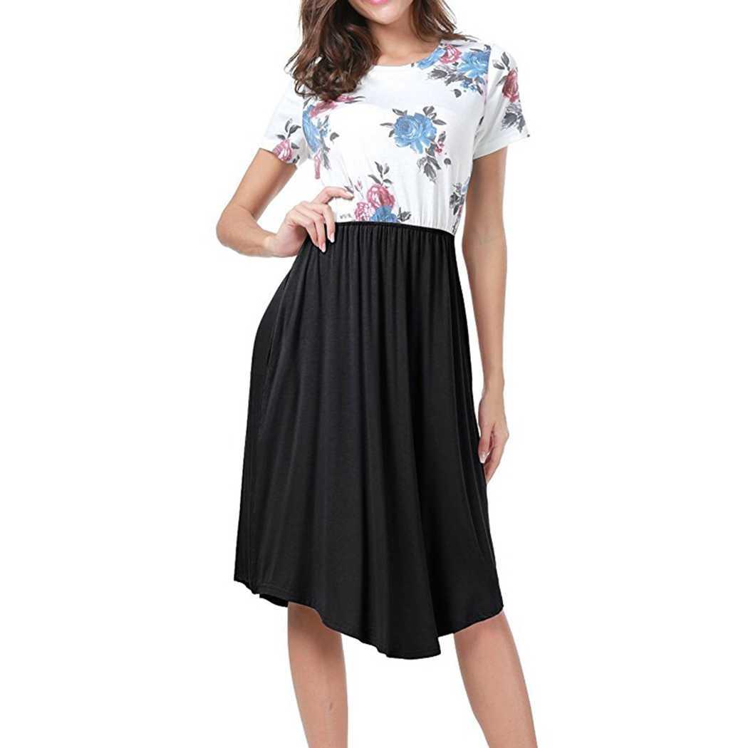 Элегантные женские платья с коротким рукавом цветочный принт пэчворк тонкая