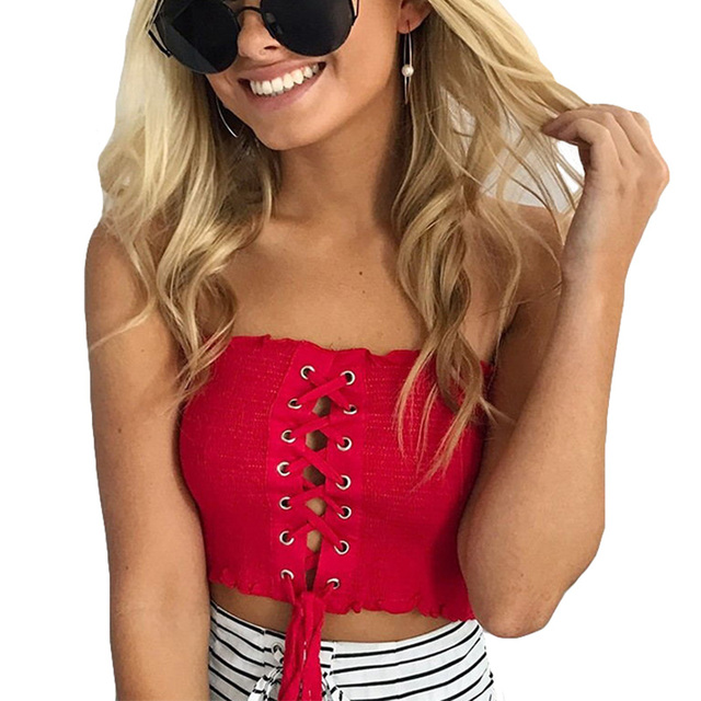 57570b5416b 2017 Lace Up Bandeau Tube Top Women Bandeau Top Elastic Crop Top Female  Camisole Strapless Tube
