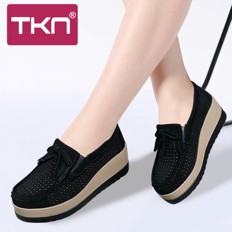 2019 Spring Women Platform Shoes   Leather     Suede   Flats Sneakers Shoes Fringe Cutout Slip on Tenis Feminino Chaussures Femme 912-2