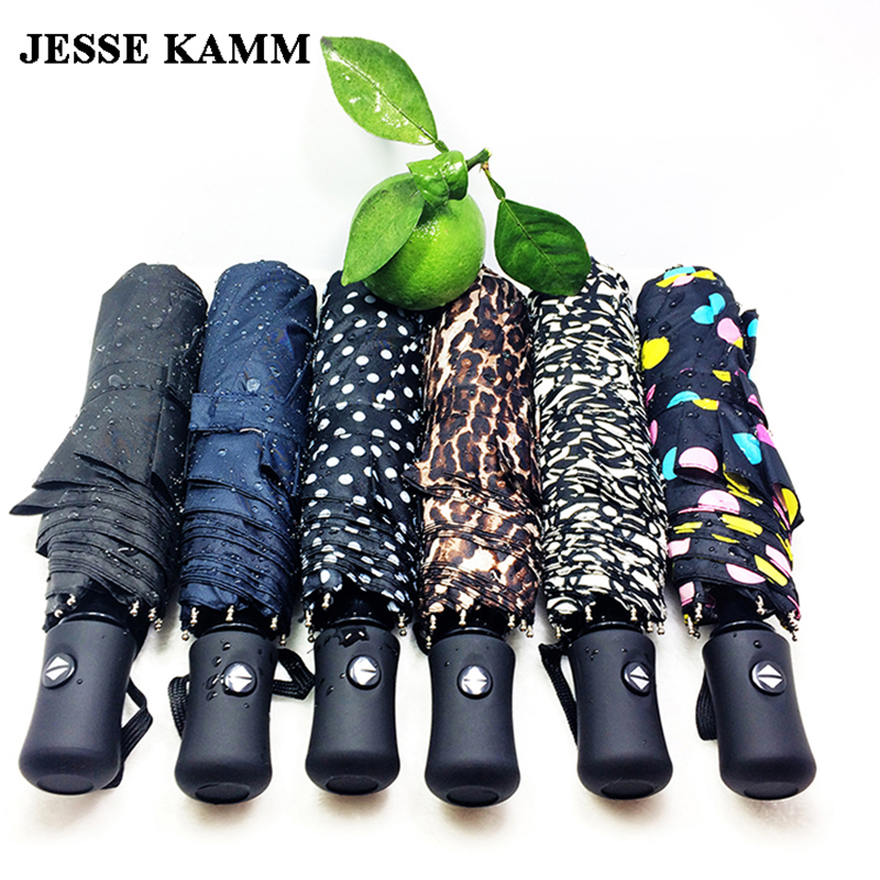 JESSE KAMM New arrive Gentles Ladies Fully automatic Aluminium Fiberglass Strong Frame Three Folding compact big
