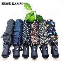 Джесси Kamm Новое поступление джентлес дамы Полностью Автоматические Алюминиевые GRP сильный Рамка три складной компактный большой дождь зонтик
