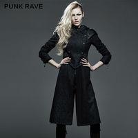 Панк Rave Для женщин пальто с капюшоном Готический стимпанк военные Стиль рок Длинные Прохладный Рок мотоцикл куртка Y582