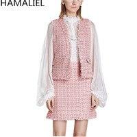 Runway Winter Pink Tweet 3 Piece Set 2018 Designer Women White Chiffon Puff Sleeve Blouse Vest