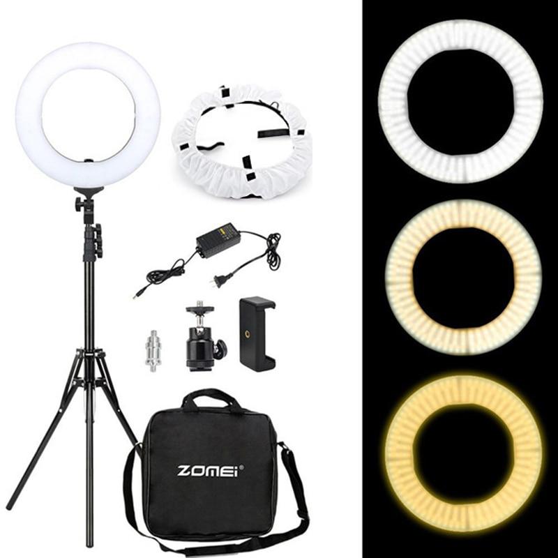 Zomei 240PCS LED Selfie Ring Light 18 inch Dimmable LED Video Studio Light with 190CM Tripod for Canon Sony Nikon DSLR iPhone кольцо для селфи selfie ring light на батарейке белое