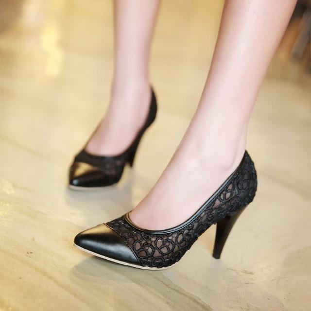 Plus size mulheres sapatos de bico fino de salto alto senhoras bombear sapatos calçados femininos sapato feminino stiletto silp em sapatos para noiva