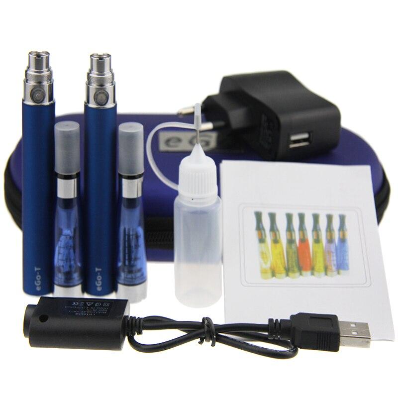 Double eGo CE4 Starter Kit E Cigarette 650 900 1100 mah eGo t batterie 1.6 ml CE4 Clearomizer E Cig ensemble Étui À Fermeture Éclair Kit 12 Couleurs