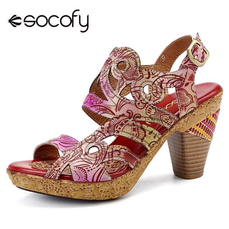 SOCOFY Gradient Color Genuine Leather Hollow Retro Veins Comfortable Opened Sandals Elegant Women Shoes Summer High Heel Sandals