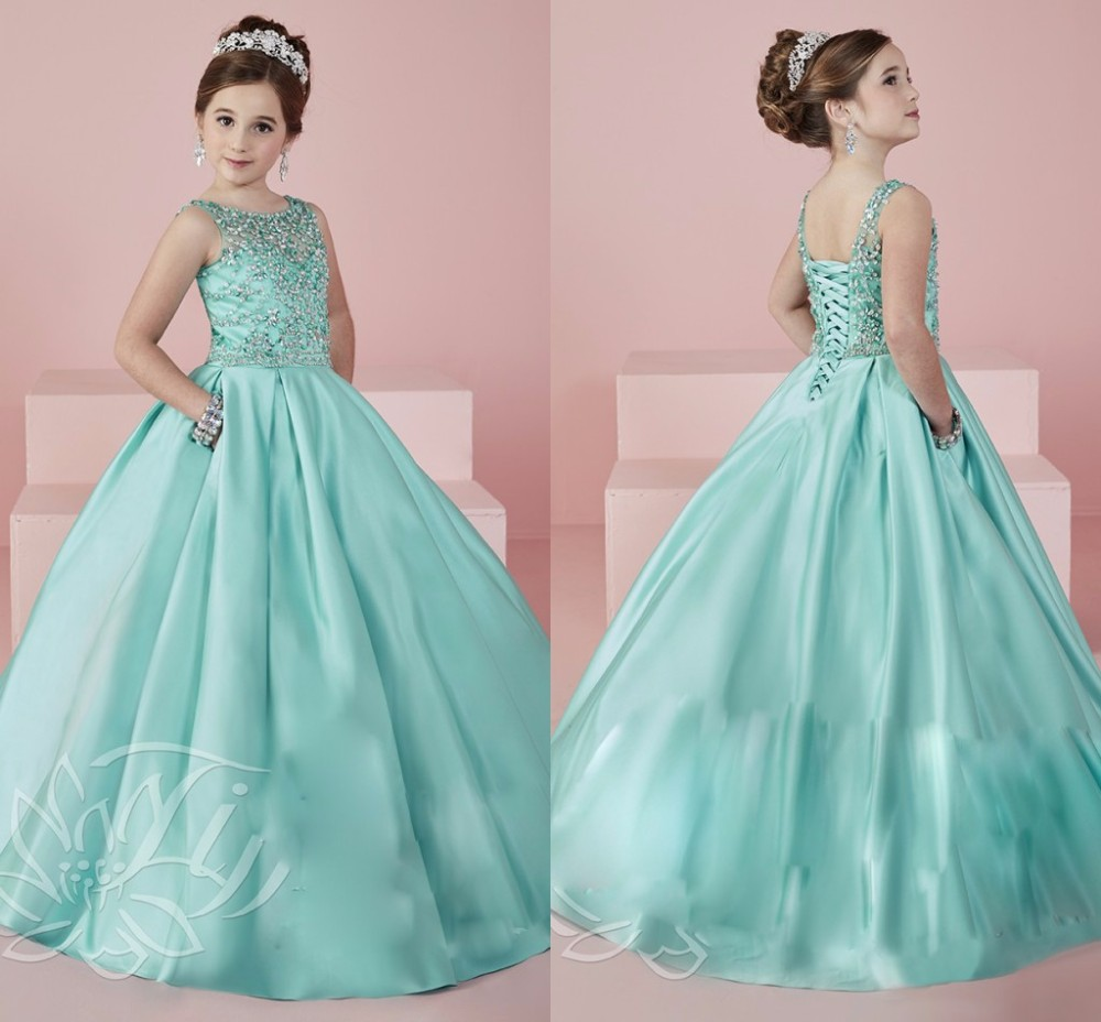 Vimans Tiffany Blue Flower Girls Dresses Scoop Pageant Dress For