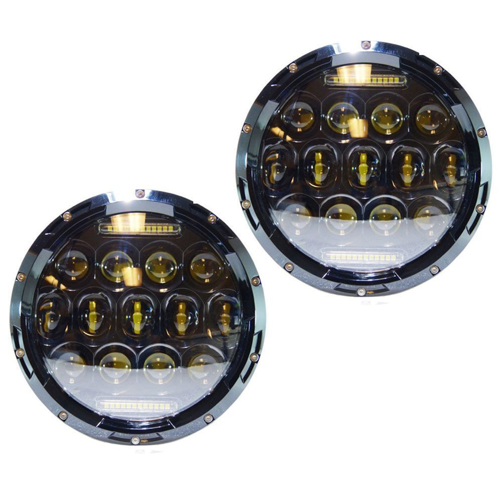High quality 7 inch LED Headlight 75W 7 Headllamp black housing Daymaker for jeep Wrangler cars
