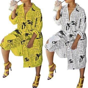 New Long Design Women Dress Newspaper Printed Sleeve Turn Down Neck Streetwear