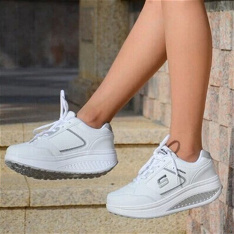 2018 new white ladies running shoes platform shoes outdoor sports shoes travel fitness travel high quality wear sneakers