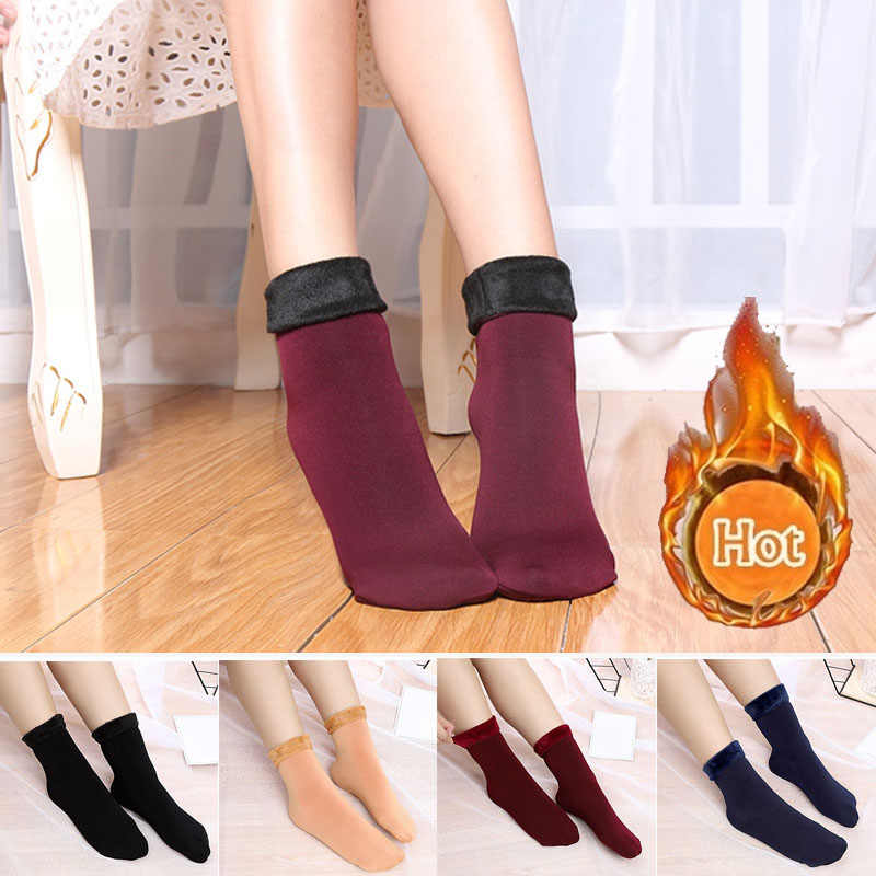 Thickening Cashmere Snow Socks Men Women's Autumn And Winter Warm Velvet Solid Casual Thermal Keep Sleeping Socks