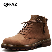 QFFAZ Men Boots Winter Warm Shoes Fashion High Quality Men Ankle Boots Mid-Calf Boots For Men Male Lace Up botas para homens