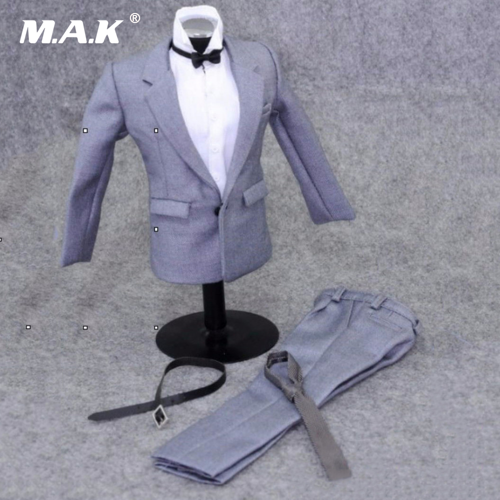 1/6 Scale Gentleman Grey Clothing Suit Set Model Toys Professional Wear For 12 Action Figures Body Accessories Gifts Toys 1 6 women scale action figures silver imitation leather glittered female clothing suit body underwear shorts set fit 12 phicen