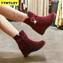 Women Snow Boots Ladies Winter Warm Casual Shoes Lace Up Buckle Roman A