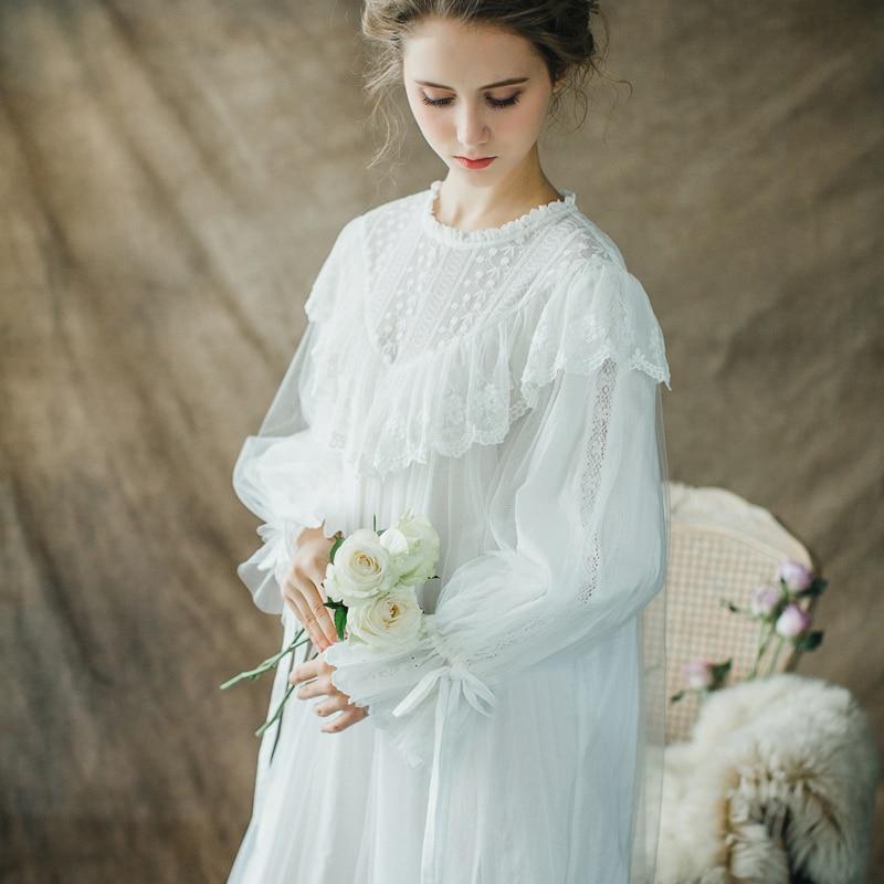 Винтаж ночная рубашка Для женщин пижамы принцесса Queen платье Ночная рубашка