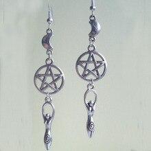 Wicca Design Drop Earrings Earth Mother Fertility Goddess Pentagram Moon Dangle Earring For Women Christmas Fashion Jewelry