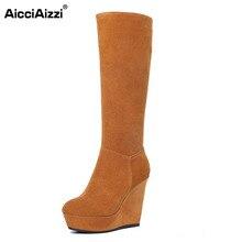 Aicciaizzi Для женщин из натуральной кожи на танкетке Сапоги и ботинки для девочек на платформе до колена на молнии Сапоги и ботинки для девочек Теплые ботинки на меху зимние сапоги для Для женщин обувь Размер 34–39