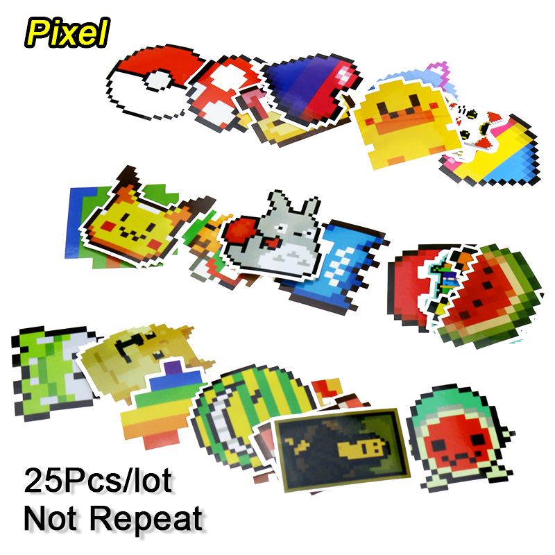 25Pcs/lot Cartoon Mario Pixel Style Stickers For Car Laptop Kids Funny Sticker Toys Luggage Skateboard Backpack Tables Sticker